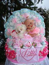 """XL Windeltorte""""Schlafbär,Babypüppchen und Babyset"""" rosa,Geburt,Taufe,Hochzeit"""