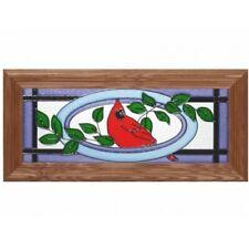 18x8 CARDINAL Bird Stained Art Glass Framed Suncatcher
