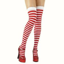 Red White Thigh High Hold ups Stockings Tights lingerie fancy dress Xmas