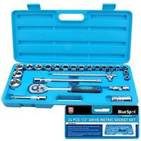 "Bluespot 24 Pc Metric Socket Set Ratchet Extention Bar 1/2"" Drive 10mm to 32mm"