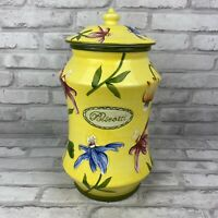 Nonni's Tall Biscotti Handmade Yellow Colorful Flowers Lidded Cookie Biscuit Jar