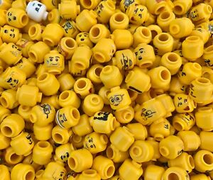 LEGO - 20 Yellow Minifigure Heads / 20 Different Randomly Picked Faces Per Order