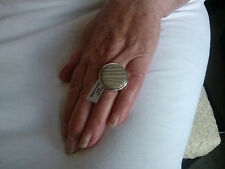 NEW HUGE SOLID 925 STERLING SILVER FLINT CHALCEDONY BEIGE RING SIZE P - Q