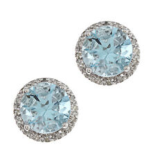 10k White Gold Round 3.20ct Blue Topaz and Pave Diamond Earrings