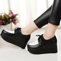 Woman High Platform Flats Lace Up Oxfords Round Toe Creeper Brogues Shoes