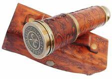 X-Mas Vintage Marine Spyglass Brass Telescope With Leather Case & High Quali