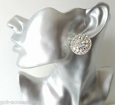 Beautiful large silver tone & AB diamante round stud earrings, 30MM  *NEW  #512