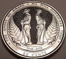 Gem Unc New Zealand 2015 50 Cents~The Spirit Of Anzac~We Will Remember~Free Ship