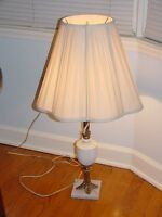 Vintage Electric Table 3-Way Lamp Marble Base Brass Milk Glass Hobnail Shade 31""