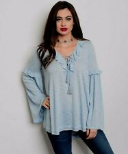 BLUE LONG BELL SLEEVE RUFFLE AND LACE UP FRONT TUNIC BLOUSE SIZE SMALL