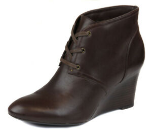 Lauren Ralph Lauren Women's Brown Tamia Leather Wedge Bootie Shoes Ret $139 New