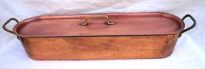 French  Cookware Tined Hammered Copper Fish Poacher Steamer Large Mint