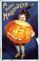 1911 Clapsaddle Halloween JOL Boy Pumpkin Signed Postcard