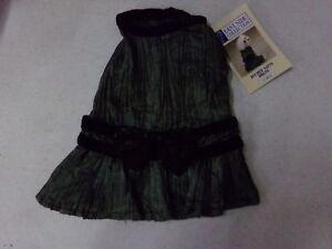 XXS East Side Collection Dark Green w/ Black Bow Dog Dress NEW
