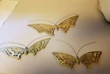 Vintage Mid Century Brass Butterfly Butterflies Set Wall Decor 1950's Lot of 3