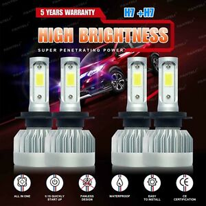 4 Bulbs Kit H7 + H7 Combo Total 3920W 588000LM LED Headlight High Low Beam 6000K