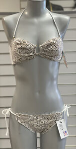 Chica Rica Viper Snake Bandeau & Tie Side Scrunch Bikini Size Large