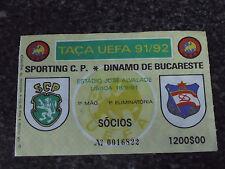 UEFA CUP 1991/92 - Sporting C.P. / Dinamo București - Used Ticket stub