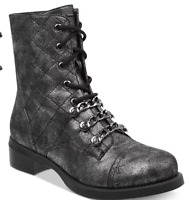 size 6 G By Guess Meera Pewter Lace Up Combat Boots Womens Shoes