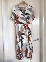 Katies 8 Leaf Print Midi Dress Wrap Front BNWT RRP $79.95 White Orange Grey