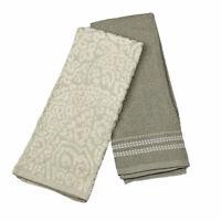 Ralph Lauren Home Cotton Oversized Kitchen Towels Set 2 Tan Paisley Gray Solid