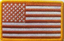 USA AMERICAN Flag BIKER Iron-On Patch  American Emblem   Dark Rust Version