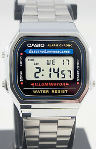 Casio A168WA-1 Men's Stainless Steel Digital Alarm Stopwatch Watch New