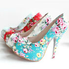 Womens Floral Pattern Peeptoe Gardens Platform High Heels Shoes Size 3006#
