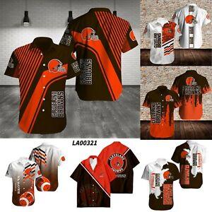 Men American Football Cleveland Browns Collared Causal Short Sleeve Button Shirt