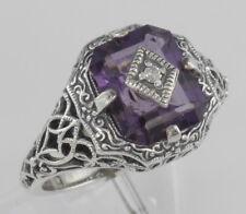 Art Deco Style Emerald Cut Amethyst Filigree Ring w/ Diamond - Sterling Silver