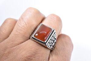 Vintage Stainless Steel Genuine Carnelian Size 12.75 Men's Ring