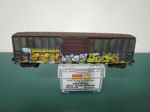 Micro-Trains N scale HS ex/ Texas Mexican 50' boxcar weathered graffiti #75035