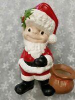 Vintage Christmas Santa Ceramic Atlantic Mold Figure 1970s Elf Boy Hand painted