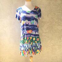 Jams World Talking Fish Med Hawaiian Tiered Haiti Dress Undersea Floral Rayon