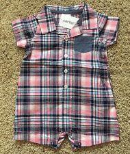 NWT Girls Pink Blue Plaid Short Sleeve Romper 18 Months