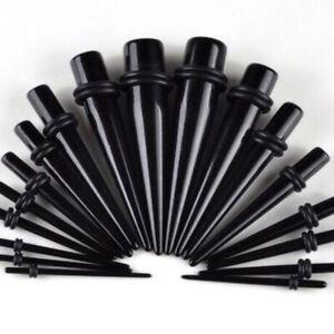 Black Acrylic Ear Tapers 8-24mm Expanders Stretchers Plug Tunnel Flesh Taper UK
