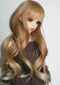 1/3 1/4 1/6 High Temperature Long Wig Wire Brown To Blonde Wavy Doll Hair US