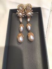 STUNNING Vintage MIRIAM HASKELL Baroque Pearl  EARRINGS 3 inches!!