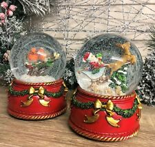Large Wind Up Traditional Christmas Snow Globe with Music Santa Sleigh or Robins