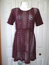 Womens New HOUSE OF HARLOW 1960 Maroon Crochet Style short dress size small s