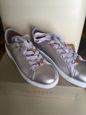 Womens Ted Baker Gielli Tennis Trainer Shoes Silver White Rose Gold Uk 7