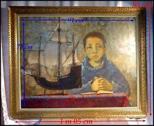"""""""Portrait d'un Adolescent Bleu à la Caravelle"""" Pierre Lavarenne Signe de Piste."""