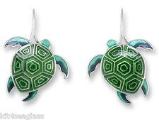 Zarah Zarlite Hawaiian Honu Turtle EARRINGS Silver Plated Dangle NEW - Gift Box