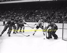 ROGIE VACHON Defends HIS NET vs Bruins 8x10 MONTREAL CANADIENS HOF GOALIE GREAT