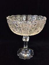 "Bohemian Hand Cut Crystal Art Glass Footed Bowl, 7 1/2"" Tall x 6"" Diameter"