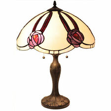 "Tiffany Style Victorian Scalloped Rose Table Lamp Handcrafted 18"" Shade"