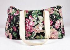 Vtg 90s Floral Canvas Duffle Shoulder Hand Bag Satchel Purse Tote Luggage Gym