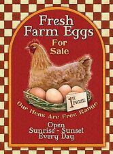 Fresh Farm Eggs Petit acier signe 200 mm x 150 mm (og)