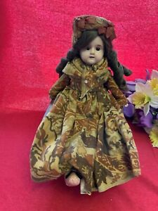 """Antique Composition Head Kid Leather Body Doll;15"""",glass eyes,bisque hands;TLC"""