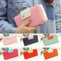 AU_ KE_ KD_ Women's Zipper Faux Leather Card Holder Clutch Wallet Long Purse Han